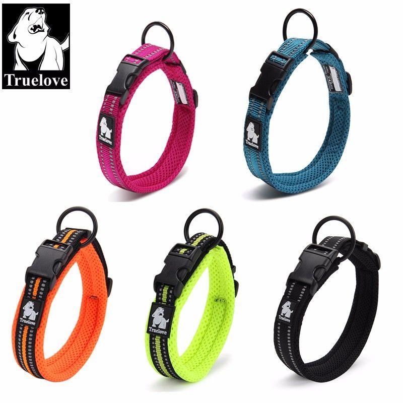 Truelove Einstellbare Nylon Hundehalsbänder Mesh Gepolsterte 3 Mt Reflektierende Kragen Für Hundetraining Außen Bequeme Hund Halskette Für Haustier