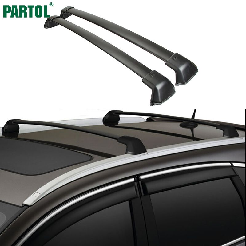 Partol 1 пара черная сторона рельсы на крышу автомобиля поперечные ригелей для Honda CRV 2012-2016 132 фунтов 60 кг установлен на автомобиле на крыше