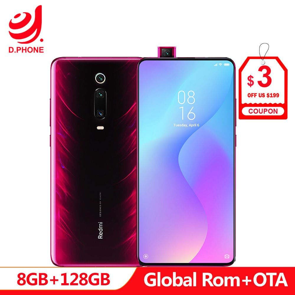 Globale MIUI Rom Xiaomi Redmi K20 PRO 8 GB 128 GB Snapdragon 855 48MP Hinten Kamera Pop-up Vorne kamera 4000 mAh In Bildschirm Anerkennung