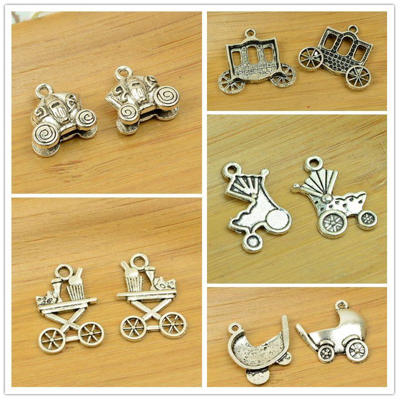 DIY aleación encanto colgante cochecito/cochecito de bebé/carretilla/Carro/entrenador forma plata antigua vintage joyería resultados de los accesorios