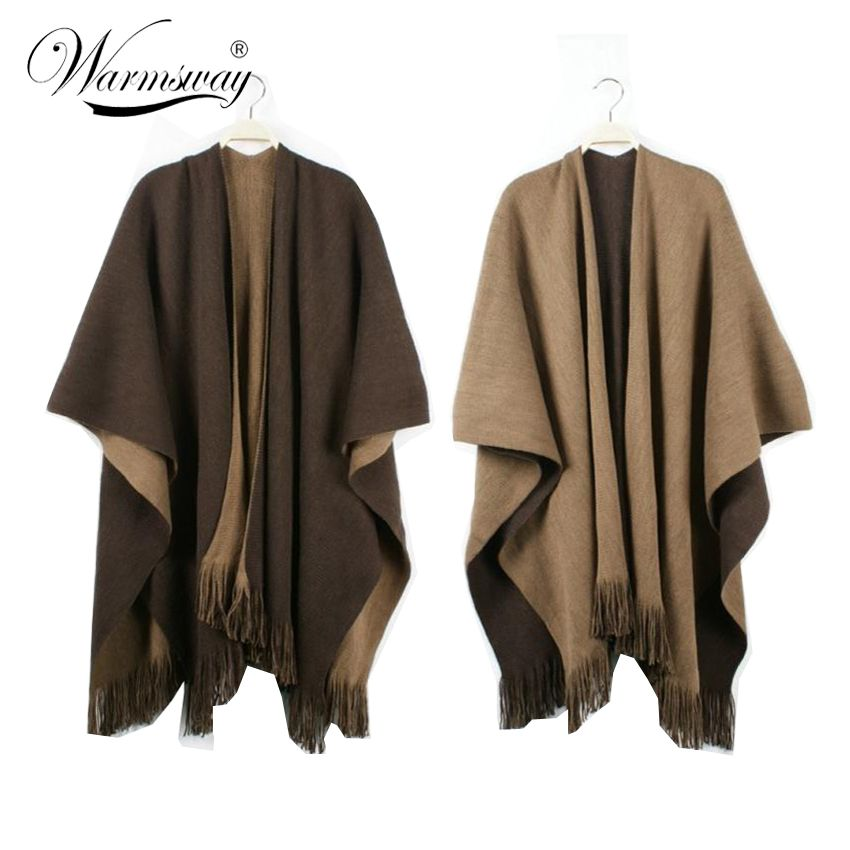 Quality guarantee Oversized Reversible reversed Women Winter Knitted Cashmere Poncho Capes Shawl Cardigans Sweater Coat C-008
