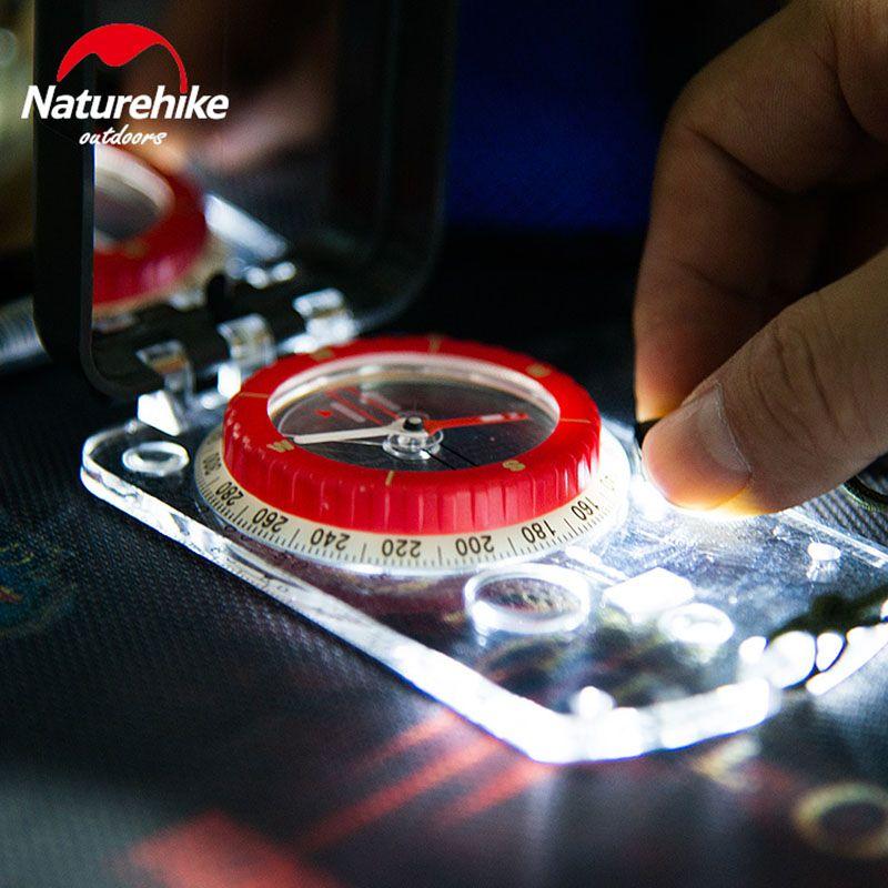 NatureHike Leucht Kompass Mit Spiegel LED-Licht Dauerhaft Anti-shock Stabile Wasserdichte Wandern Klettern Multifunktionale Kompass