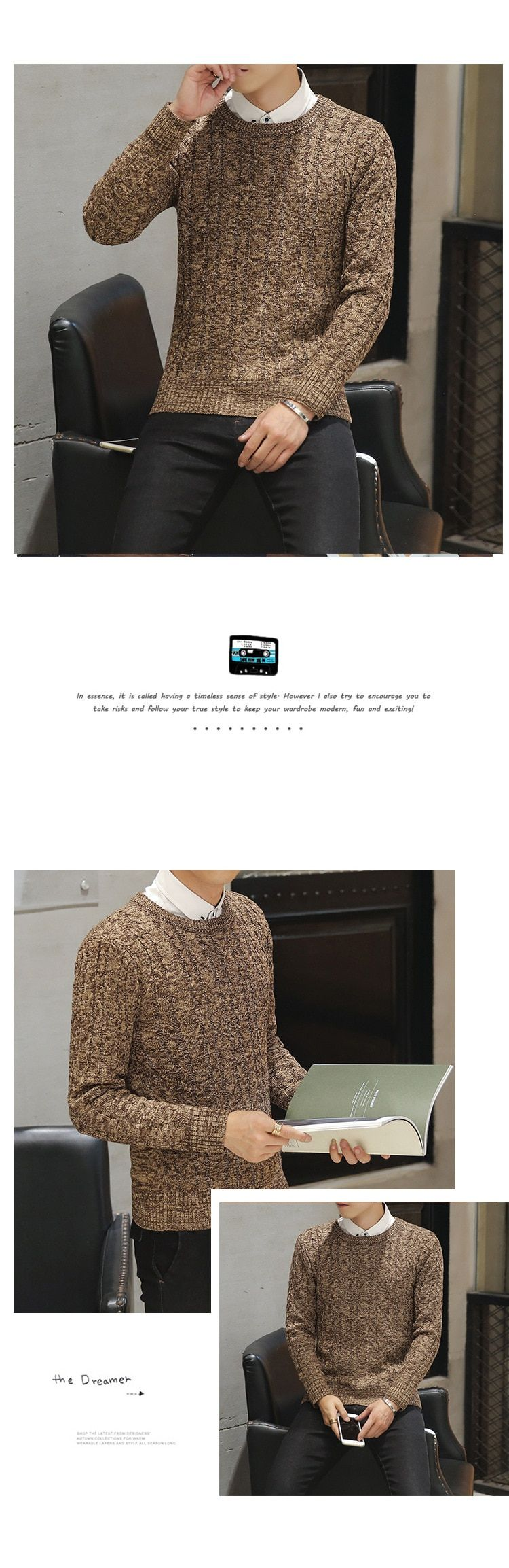 Autumn new solid cotton O neck sweater jumpers Winter male knitwear man Blue Gray Black Green