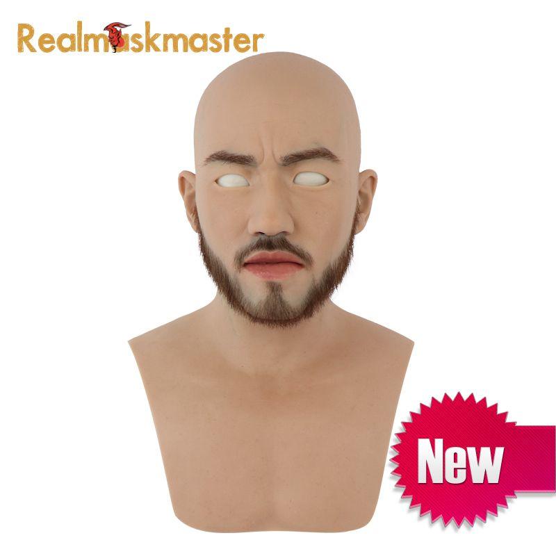 Realmaskmaster silikon halloween volle gesicht bart maske partei liefert männlichen fetisch menschlichen haut masken