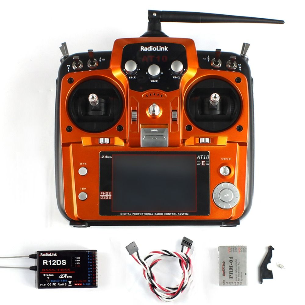 Quality RadioLink AT10 II RC Transmitter 2.4G 10CH Remote Control System with R12DS Receiver for RC Airplane Helicopter
