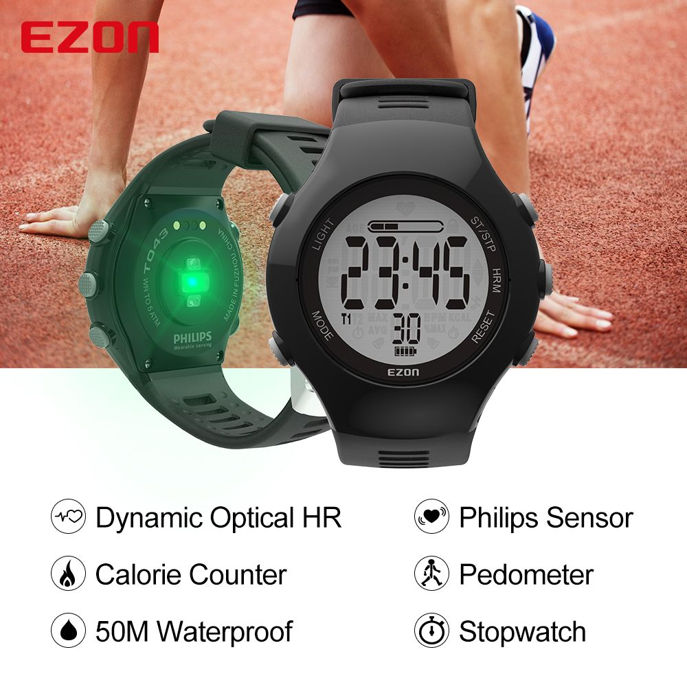 New EZON T043 Optical Sensor Heart Rate Monitor Pedometer Calorie Counter Digital Sport Watch Powerd by PHILIPS Wearable Sensing