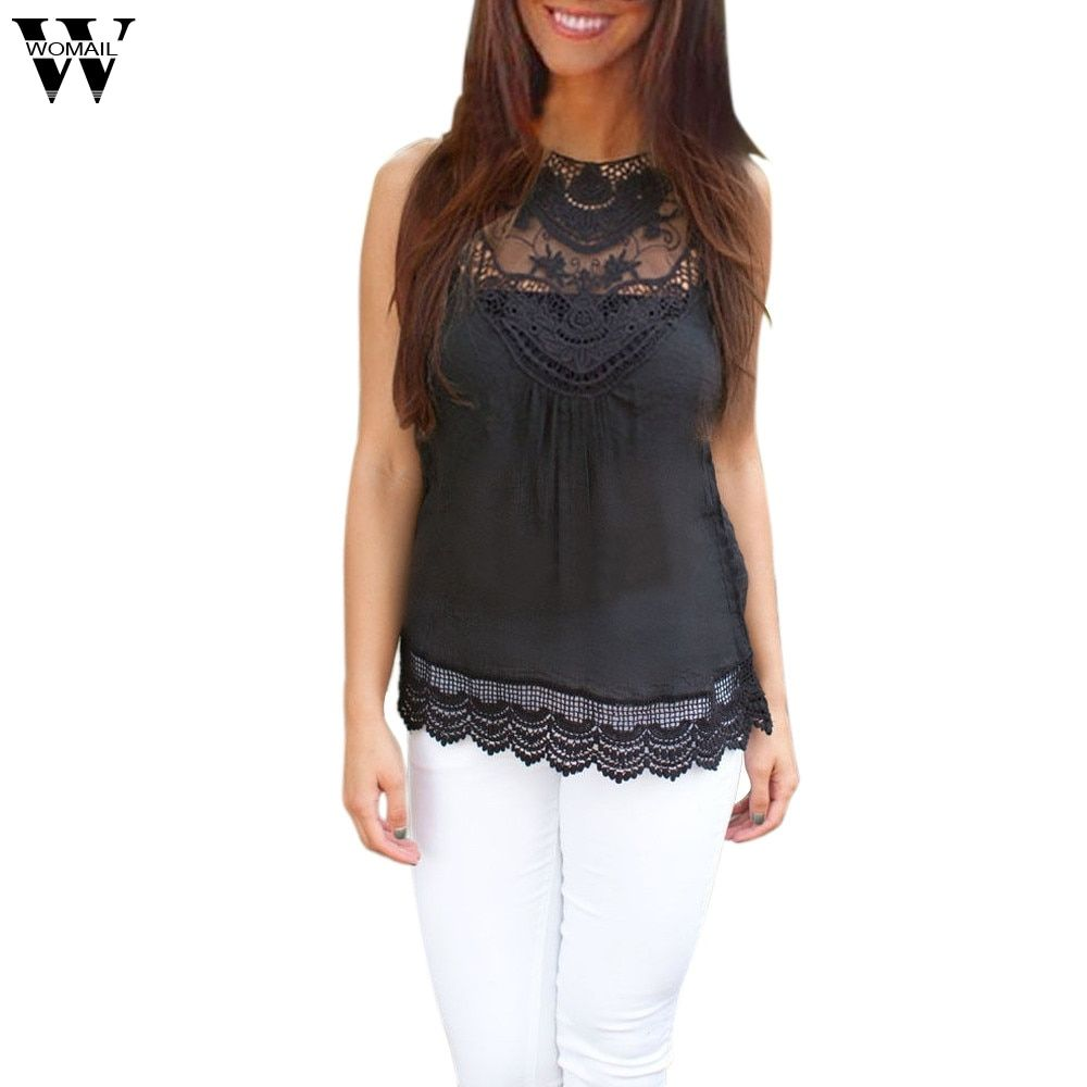 WOMAIL delicate Women Summer Vest Top Sleeveless Casual Shirt Lace W7