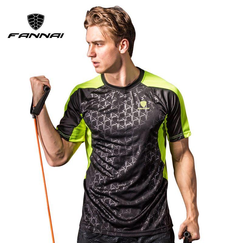 FANNAI Men Sport T Shirt Quick Dry Tops Tees Printed Shirts Fitness Men's Running Clothes Short sleeve Sports Soccer Sportswear