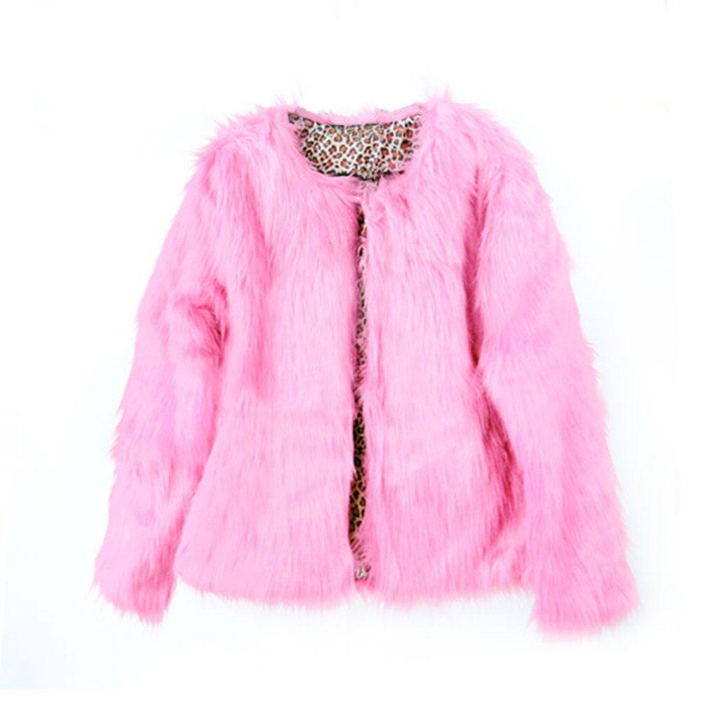 2017 Winter Fashion New Women Fur Coat Thick Warm O Neck Ladies Colored Faux Fur Coats Jacket Streetwear Pink Plus Size S-XL F2