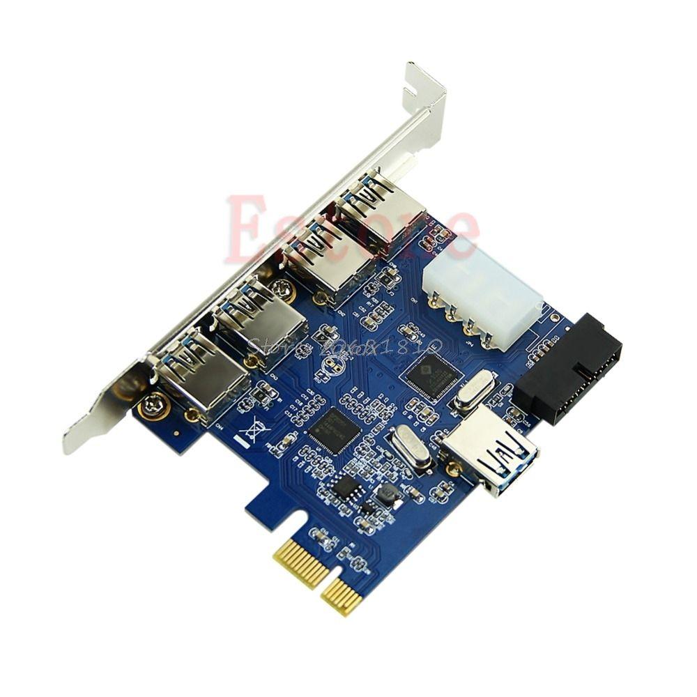 5 Ports PCI-E PCI Express carte vers USB 3.0 + 19 broches connecteur 4 broches adaptateur pour Win7/8 vente en gros et livraison directe