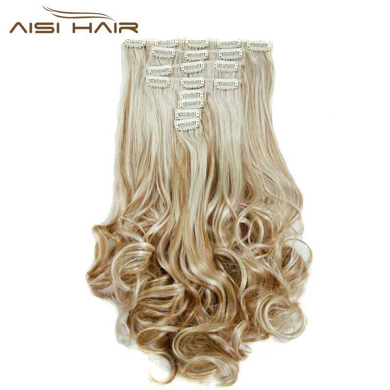 Je de une perruque 16 Couleurs Clip dans les Cheveux Extensions 8 pcs/ensemble 22 pouces 55 cm Long Ondulé Résistant À La Chaleur postiche