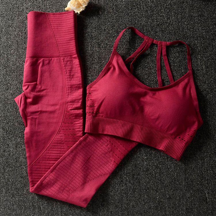 Gym 2 pièces ensemble vêtements d'entraînement pour les femmes sport soutien-gorge et Leggings ensemble tenue de sport pour les femmes Gym vêtements athlétique Yoga ensemble Le gymnase deux ensembles de vêtements