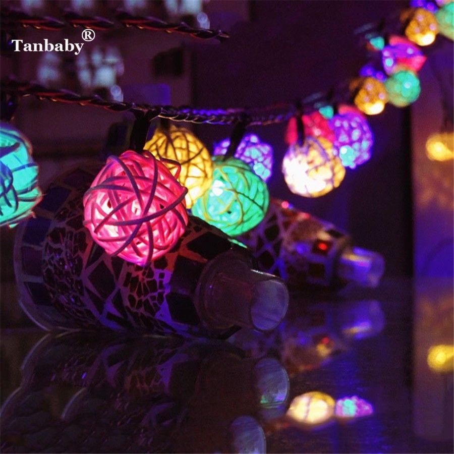 Tanbaby 4.8 M 20 Led RGB Solaire Guirlande LED Balle de Rotin Guirlandes Lampion Chaîne Pour Noël De Mariage Luces Décoration partie