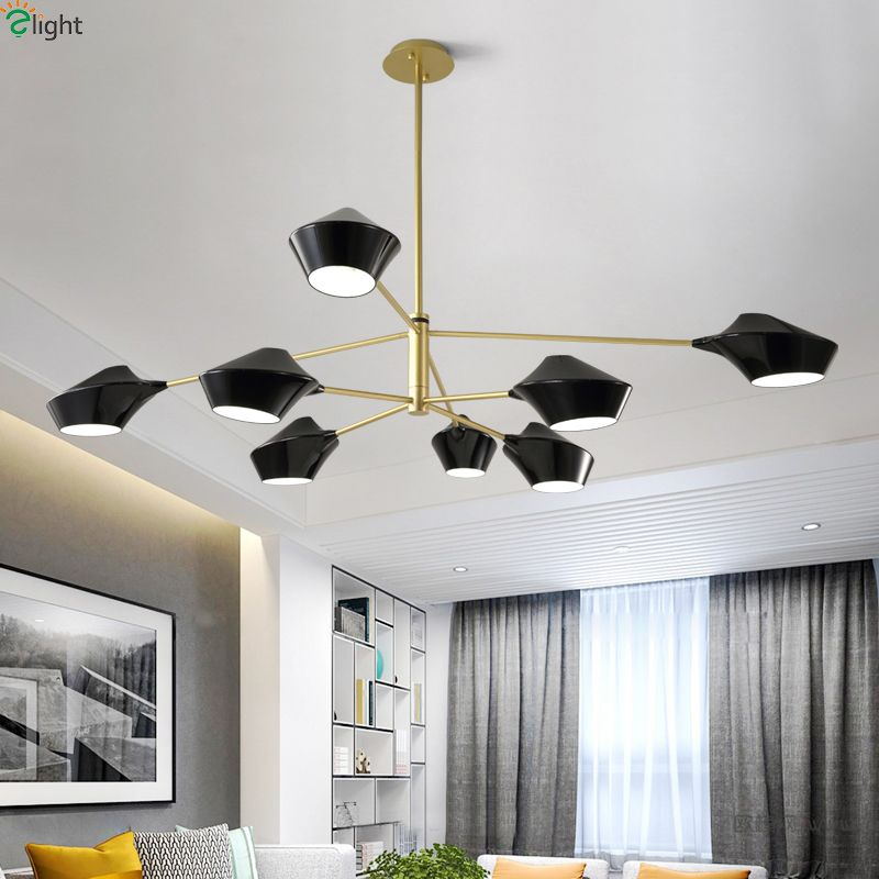 Modern Metal Led Chandeliers Lighting Acrylic Shades Dining Room Led Pendant Chandeliers Lamp Living Room Hanging Lights Fixture