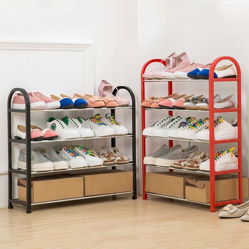 Multiple layers Shoe Rack Plastic parts Steel Pipe Shoes  Shelf Easy Assembled Storage Organizer Stand Holder Space Saving