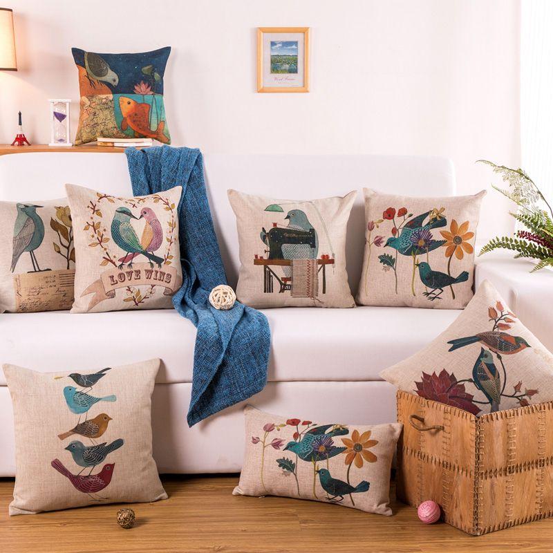 Haute Qualité Antipoussière Naturel Vintage Épaississent 45 Coton Lin Mignon Animal Fleur Oiseau Imprimé Canapé Coussin Decore Coussin