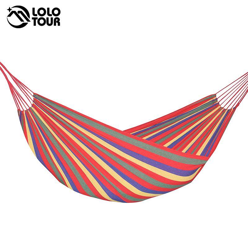 240*150 cm 2 Personne hamac hamac en plein air Loisirs lit suspendu lit de couchage double toile balançoire hamac camping chasse 3 couleur