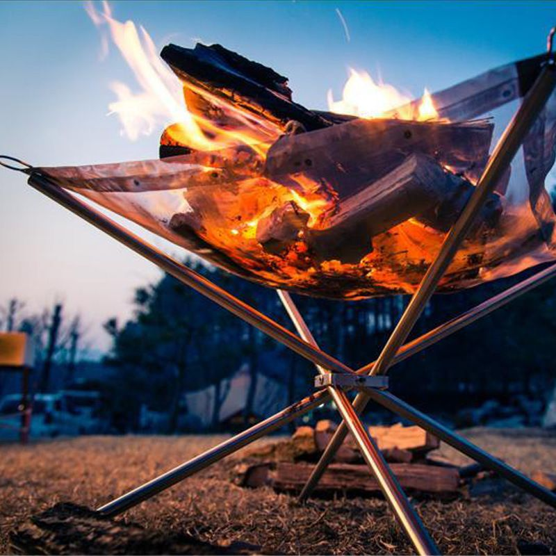 Solid Fuel Lightweight Folding Stoves Outdoor BBQ Portable Wood Stove with Mesh Stainless Steel Backpack Camping Stove