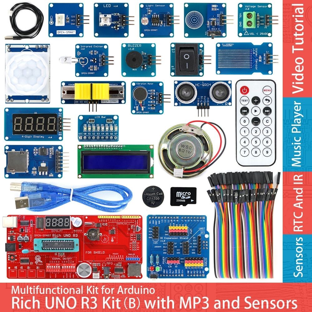 Rich UNO R3 Atmega328P Development Board Sensor Module Starter Kit for Arduino with IO Shield MP3 DS1307 RTC Temperature Sensor