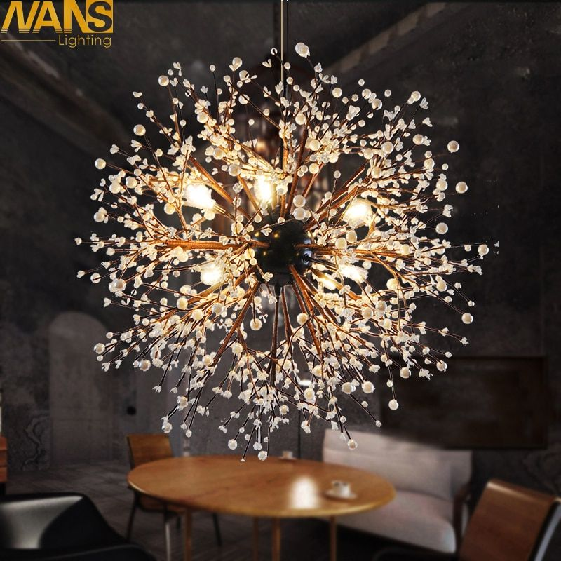 NANS 8 Pcs Lights Chandeliers Firework led Vintage Wrought Iron Chandelier Island Pendant Lighting Ceiling Light, Dia 23.5 inch