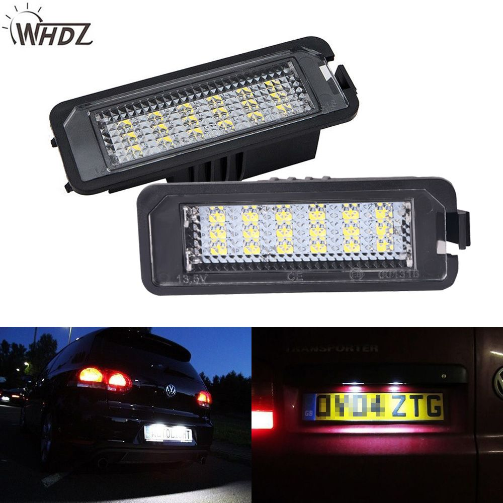 WHDZ 2x18SMD Error free LED License Number Plate Light lamps VW Golf MK4 MK5 MK6 Passat Polo CC Eos SciroccoLicense Number Plate