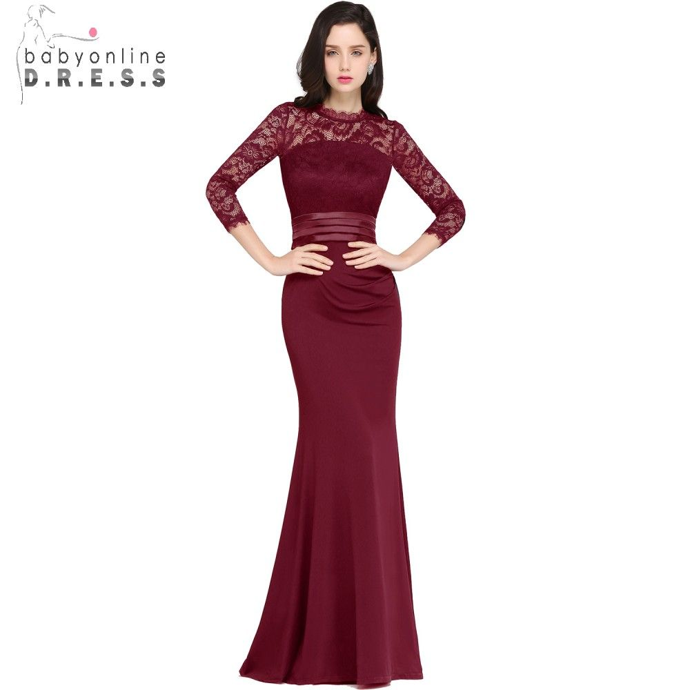 Robe de Soiree Cheap Lace Mermaid Long Evening Dress 2018 Real Image Three Quarter Sleeve Evening Gown Vestido de Festa Longo