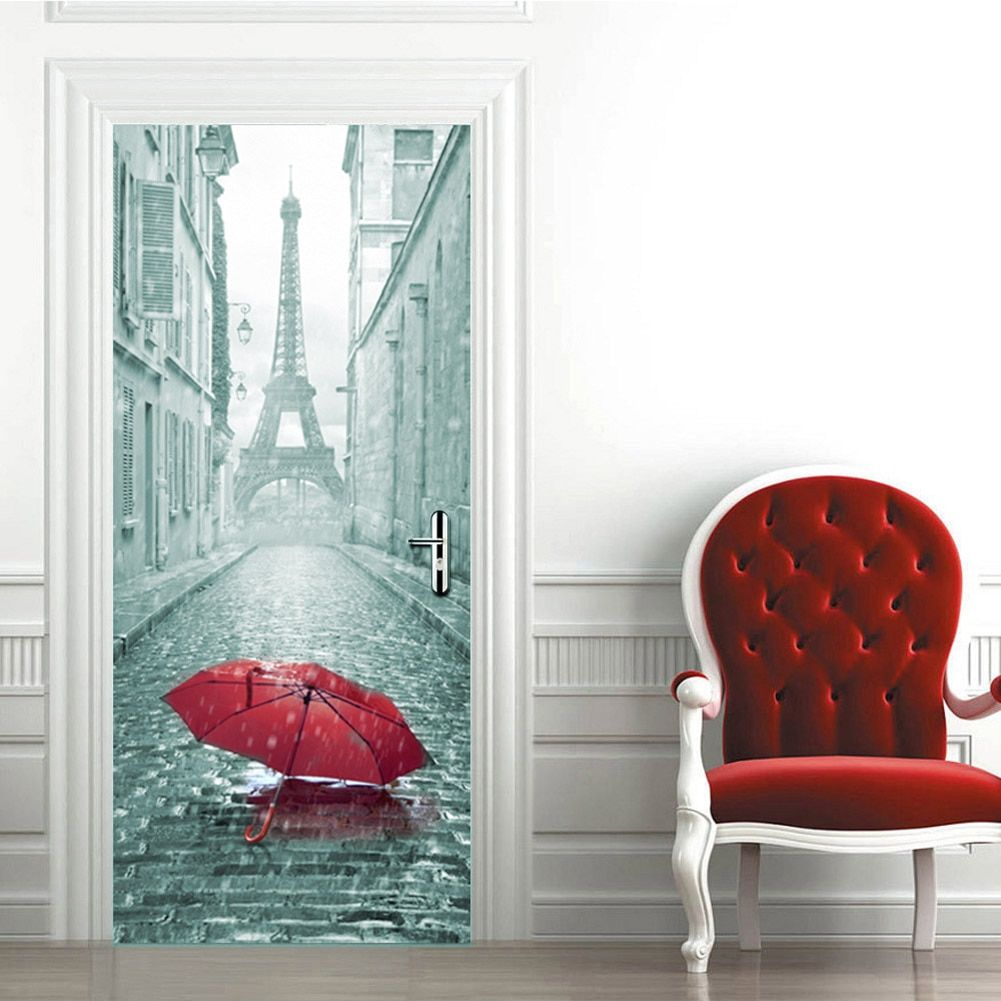 2pcs 3D Umbrella self-adhesive Gate Bedroom Door Stickers Home <font><b>Kids</b></font> Room Art Wall Decals Door Simulation Wallpaper 38.5X200 cm