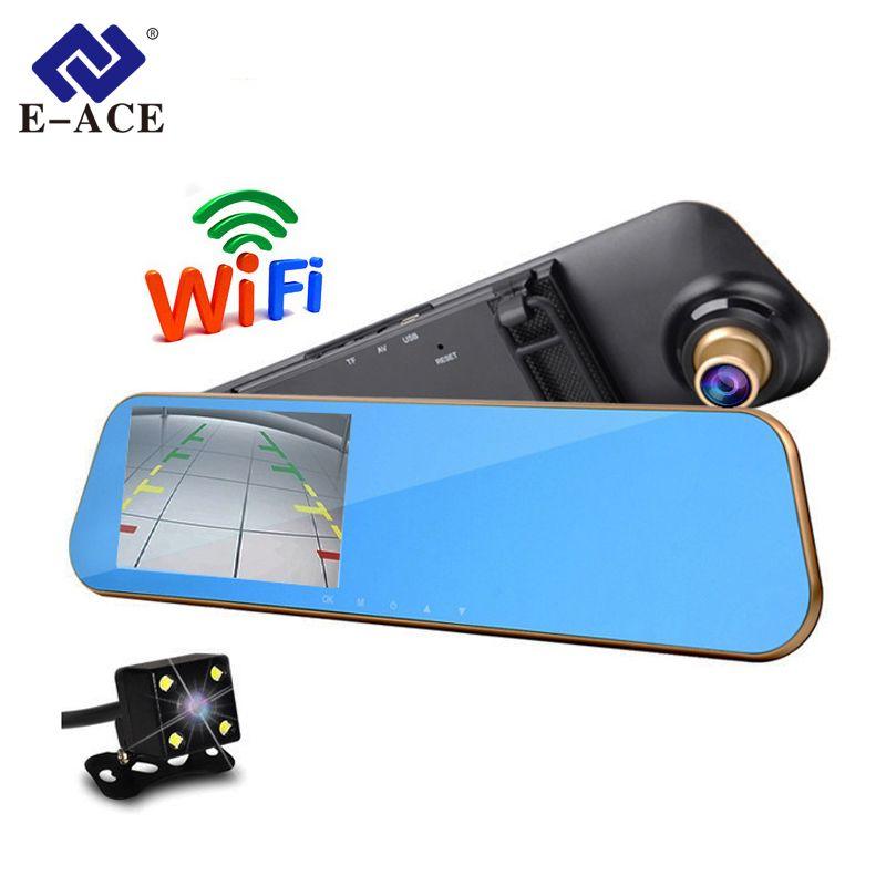 E-ACE Wifi Car Rear View Mirror DVRs Video Recorder Full HD Auto Camera Monitor Sensor Parking Night Vision Registratory Dashcam