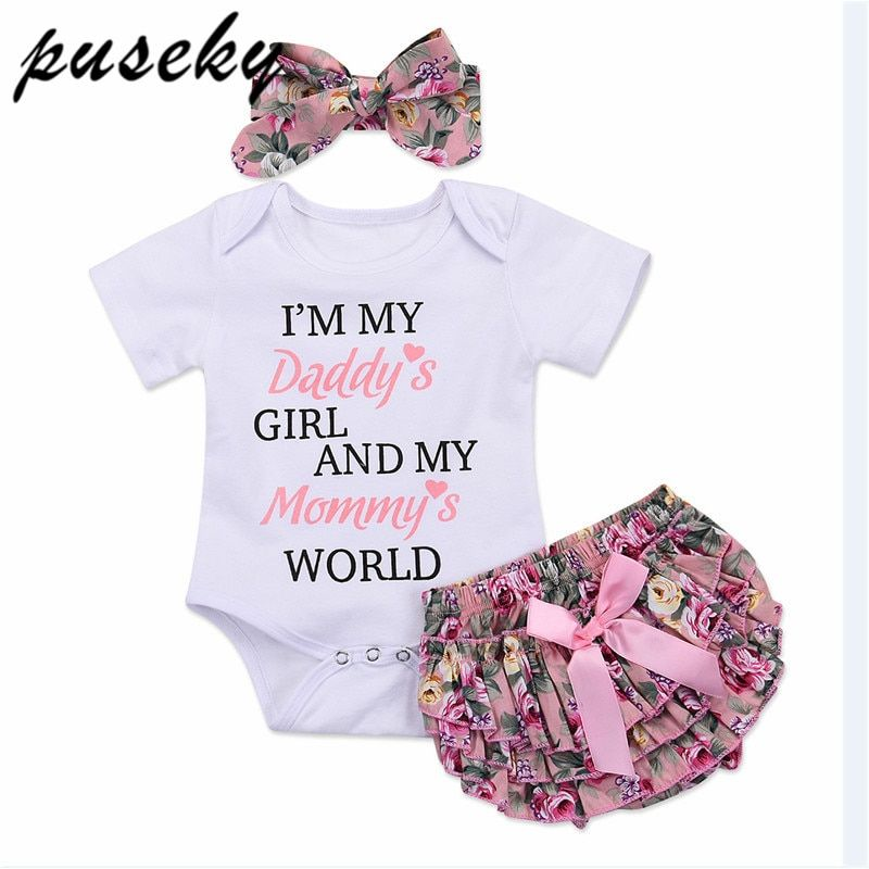 2018 Brand New 0-24M Cute Infant Baby Girl Clothes Daddy's World Cotton Romper Tops+Floral Bloomers Shorts Headband 3PCS Outfits