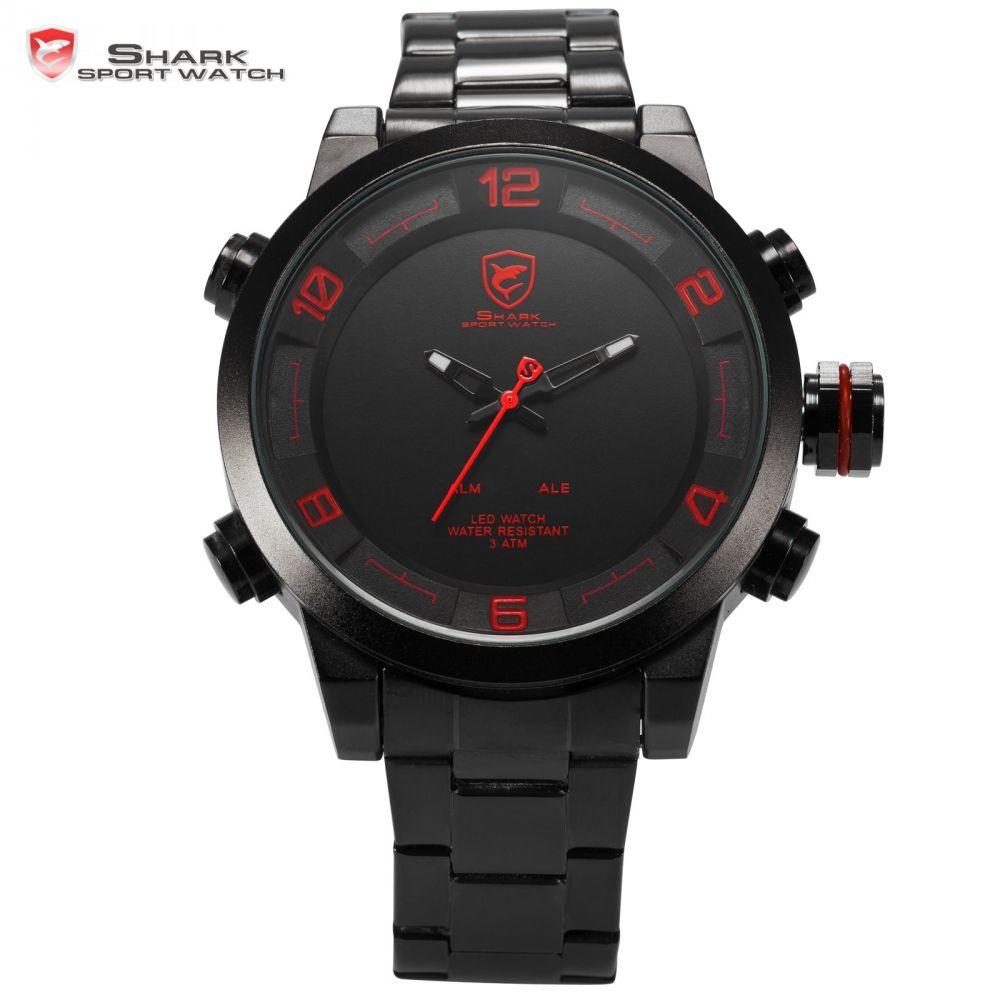 Gulper Shark Sport Watch Red Black Digital Steel Band Dual Movement Reloj De Pulsera LED Date Alarm Men's Quartz Watches /SH360