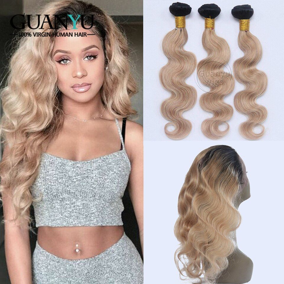 Guanyuhair Ombre #1B/27 Honey Blonde 3 Bundles With 360 Lace Frontal Malaysian Remy Human Hair Extensions Body Wave