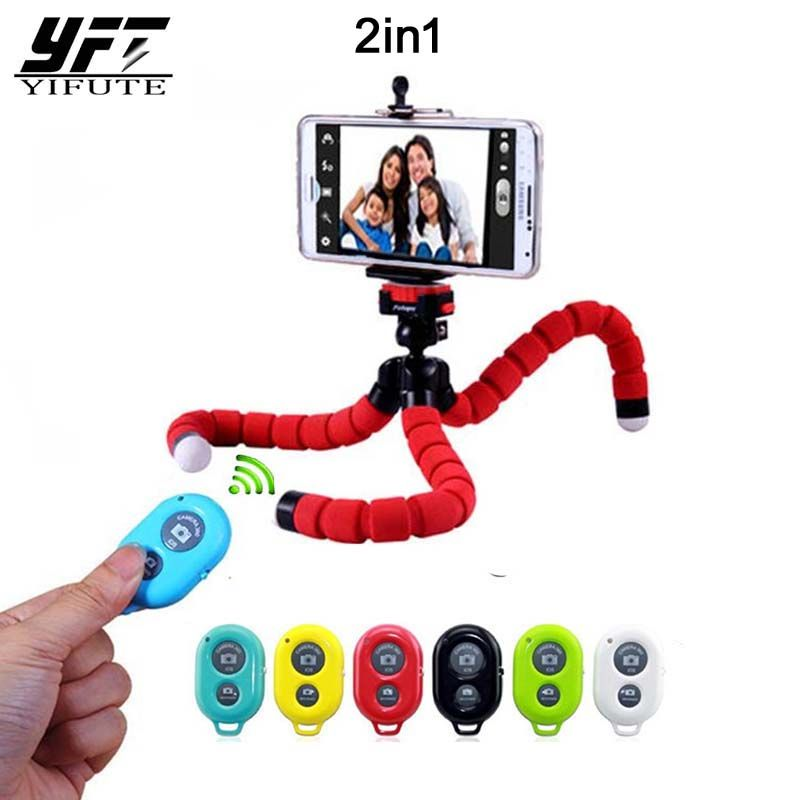 YIFUTE New 2in1 Wireless Bluetooth Remote Shutter Button Car Phone Holder Flexible Tripod Octopus Selfie Holder Stand Holder
