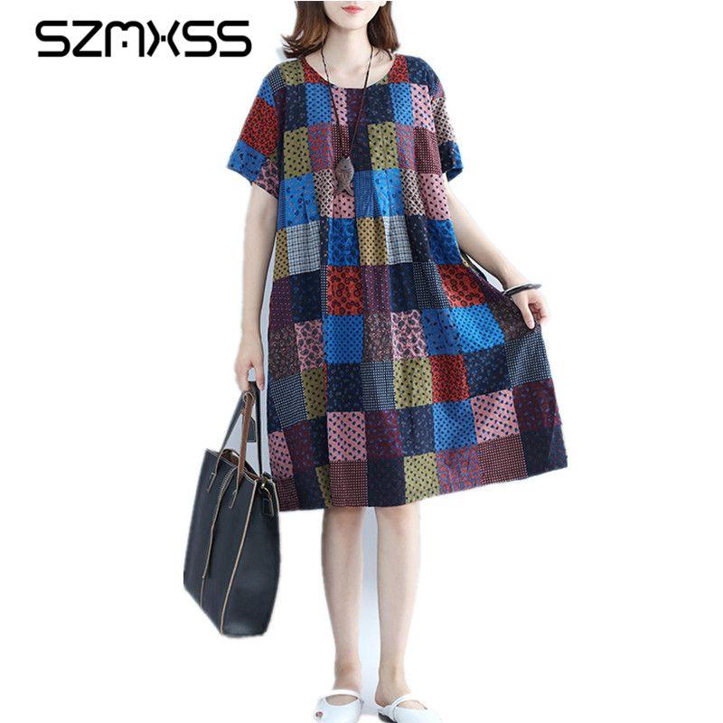 Frauen Baumwolle Leinen Kleider Vestidos 2017 Heißer Sommer Kurzarm Vintage Plaid Mori Mädchen Casual Kleid Frau Kleidung Robe Femme