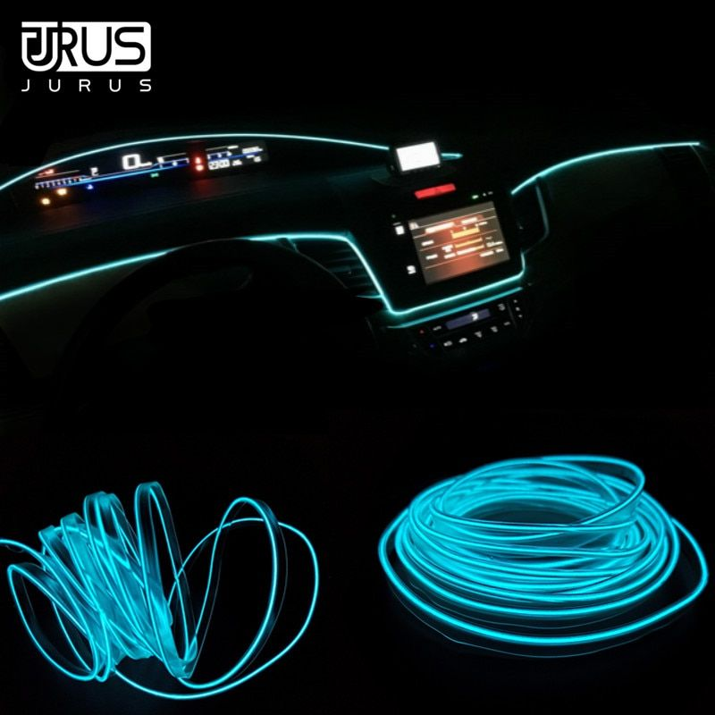 JURUS 5 M lumière intérieure de voiture lumières ambiantes El lumière néon froid ligne tableau de bord Led bande 12 V allume-cigare prise onduleur