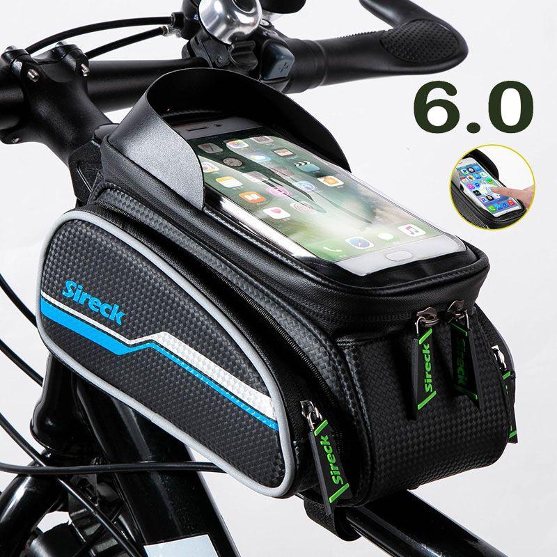 Sireck sac de vélo vélo Tube avant 6 pouces coque de téléphone écran tactile réfléchissant cyclisme cadre Pack sac de selle accessoires de vélo