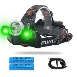 20 W LED Headlamp dengan Putih Hijau Lampu LED 3 Mode Pencahayaan USB Rechargeable, tahan Air Tahan Air Lampu untuk Hiking, Berkemah
