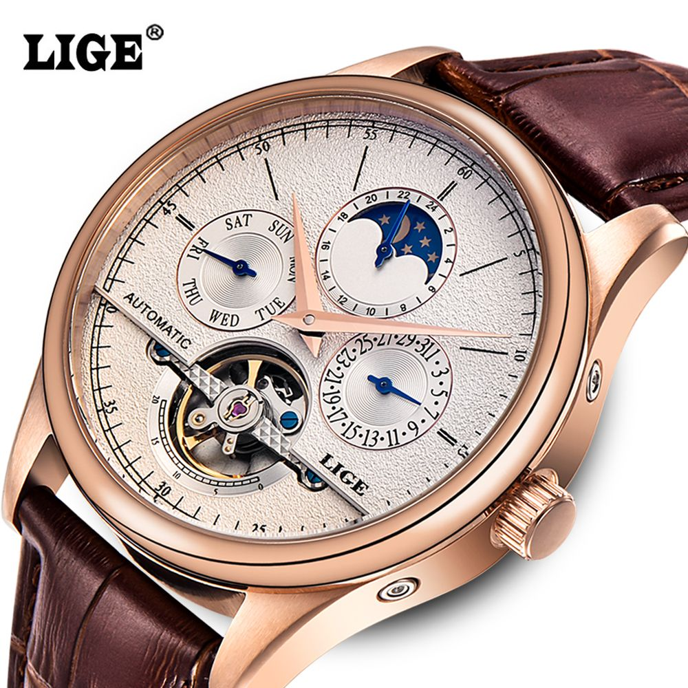 LIGE Brand Men watches Automatic mechanical watch tourbillon Sport clock leather Casual business wristwatch Gold relojes hombre