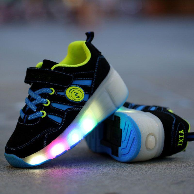 Ruedas de Luz LED Para Arriba Los Zapatos Intermitente Zapatillas de Deporte para Los Niños niñas PU Tpr Soles de primavera otoño Casual Niños Roller zapatos