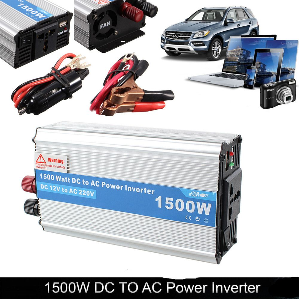 1500W DC 12V to AC 220V Auto Car Power Inverter Converter Power Supply Charger Adapter for Electronic Products