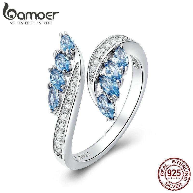 BAMOER Neue Sammlung 925 Sterling Silber Schmetterling Form Licht Blau CZ Finger Ringe für Frauen Hochzeit Engagement Schmuck BSR005
