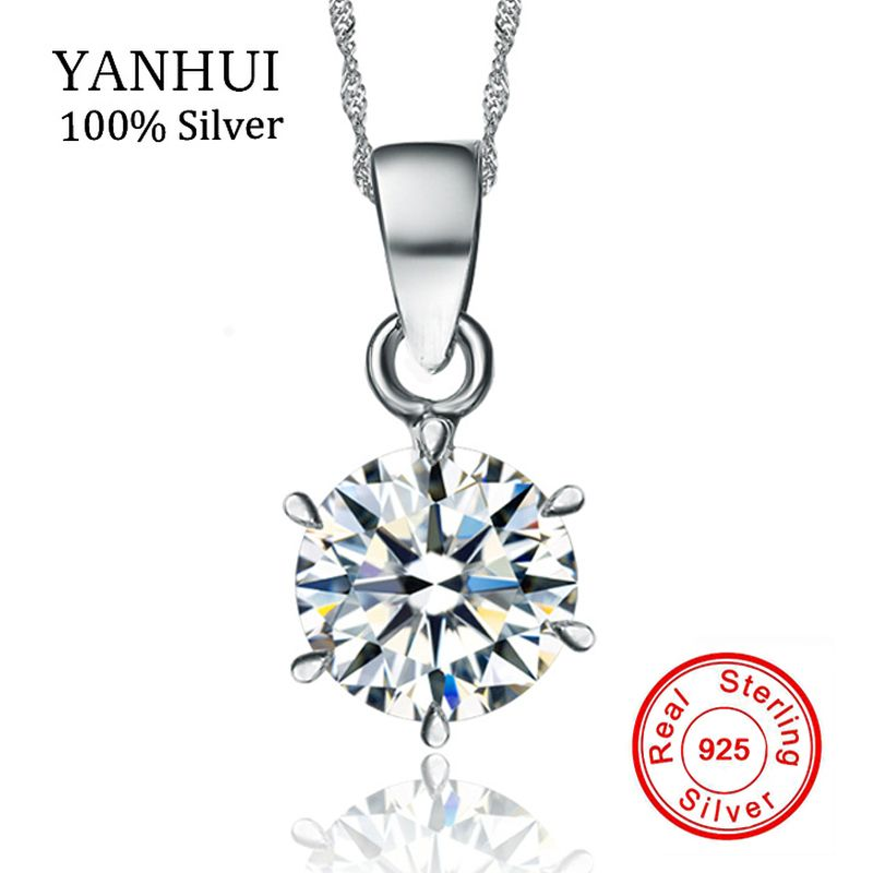 YANHUI 100% Original 925 Sterling Silver Necklace Wedding Crystal Jewelry Natural Round 1.5ct 7mm CZ Zircon Pendant Necklace N6