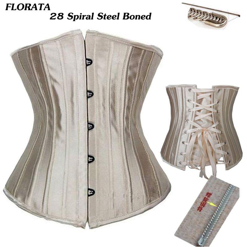 FLORATA USPS dropship Steel Boned Floral Tight Underbust Waist  Corsets TOP Cincher Bustiers Lingerie Lace Up size S-6XL