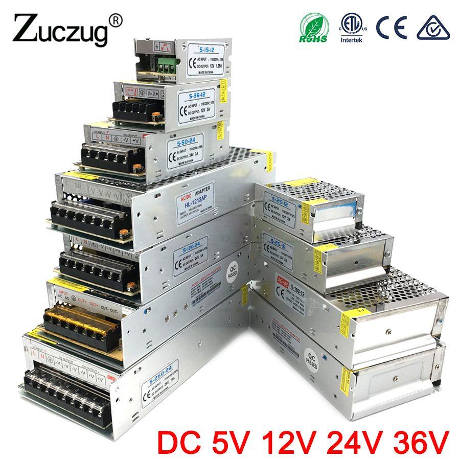Adaptateur secteur DC 5 V 12 V 24 V 3A 5A 10A 15A 20A 25A 30A Transformateurs d'éclairage 5 12 24 V Volts LED L'approvisionnement De Conducteur LED Bande Lampe
