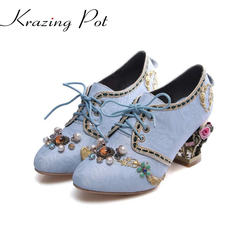 Spring autumn velvet flowers birdcage high heels fairy round toe lace up pearl diamond metal fasteners beauty wedding pumps L01