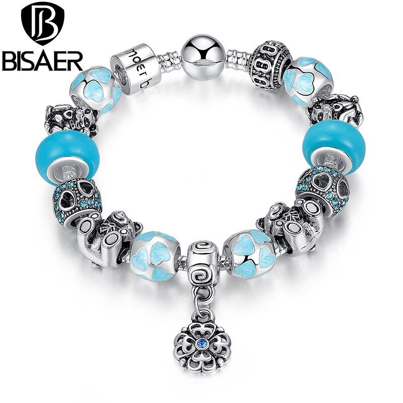 Authentic Silver 925 BISAER Top Quality Bear Flower Heart Blue Murano Beads Bracelet for Christmas Eve Gift HJ1461