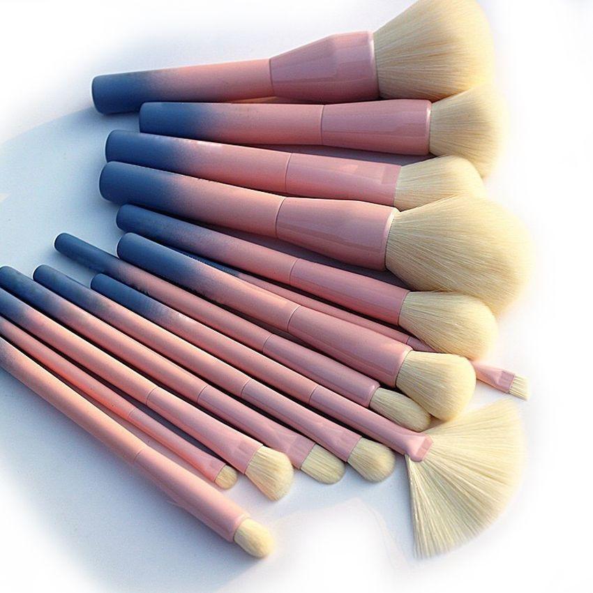 Couleur dégradé Pro 14 pièces Pinceaux De Maquillage Cosmétique Poudre Fondation Fard À Paupières Eyeliner Brosse Kits Maquillage Brosse Outil