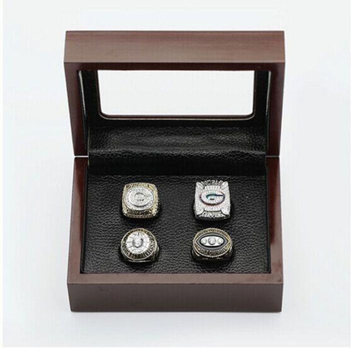 Gorgeous Ring sets with Wooden Boxes Replica Baseball Copper 4pcs/Packs Green Bay Packers fashion custom world Championship Ring