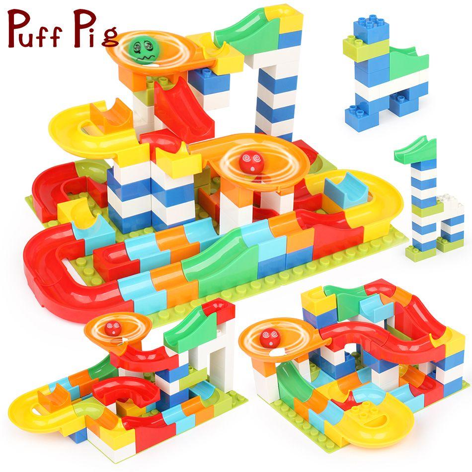 104PCS DIY Race Run Maze Balls Slide Track Building Blocks Compatible Legoed Duploe Animals Figures Toys For Children Training