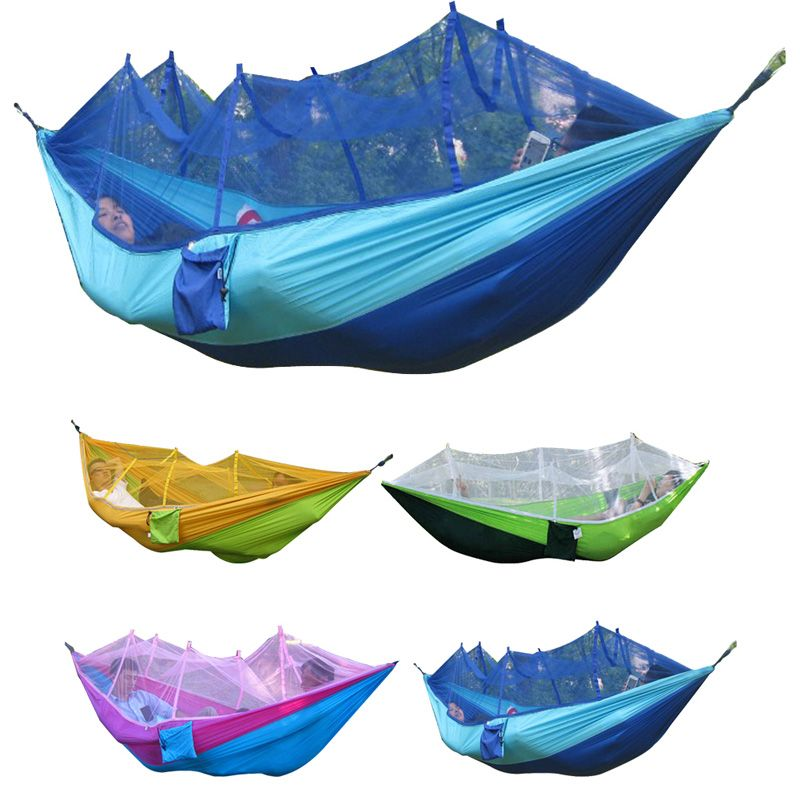 260x130cm Portable Tents High Strength Parachute Fabric Outdoor Camping Hammock Hanging Bed With Mosquito Net Sleeping Hammock