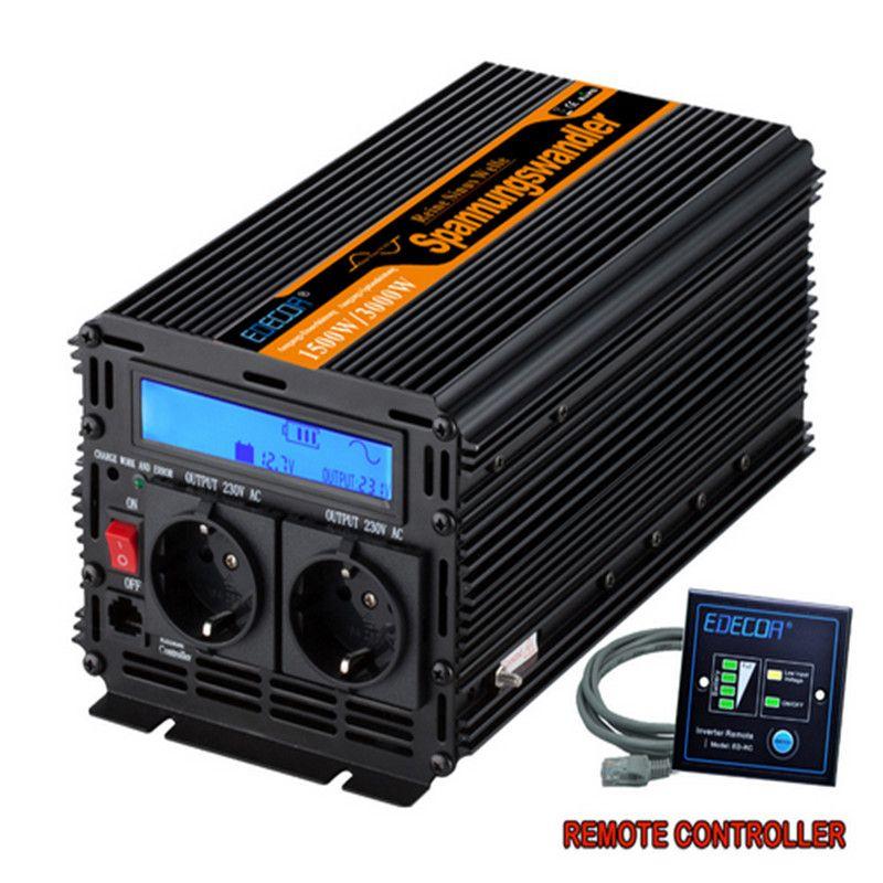 EDECOA 3000 watt Peak Power Inverter 1500 Watt Reine Sinus Welle Solar-wechselrichter solar power Converter 12 v DC zu 220 v 230 v 240 v mit LCD